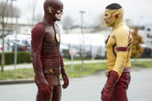 """The Flash -- """" Untouchable"""" -- FLA312b_0049b.jpg -- Pictured (L-R):  Grant Gustin as The Flash and Keiynan Lonsdale as Kid Flash -- Photo: Bettina Strauss/The CW -- © 2017 The CW Network, LLC. All rights reserved."""