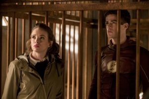 """The Flash -- """"Attack on Gorilla City"""" -- FLA313e_0401b.jpg -- Pictured (L-R): Danielle Panabaker as Caitlin Snow and Grant Gustin as Barry Allen -- Photo: Jack Rowand/The CW -- © 2017 The CW Network, LLC. All rights reserved."""